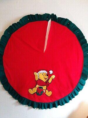 "Vintage Felt Winnie The Pooh Christmas Tree Skirt 54"" Diameter Red Green Trim"