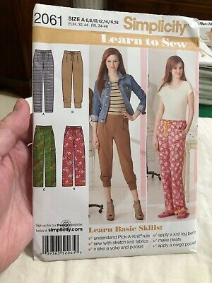 Simplicity Sewing Pattern 2061 Knit Pants LEARN TO SEW Easy 6 8 10 12 14 16 18