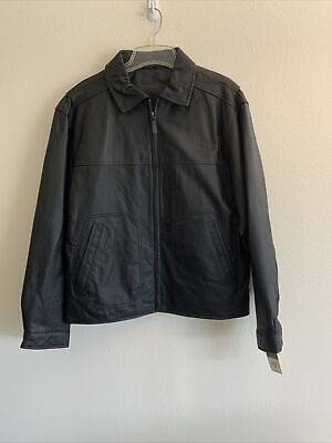 St. Johns Bay Men's Leather Jacket Black Quilted Lining NEW With Tags Medium