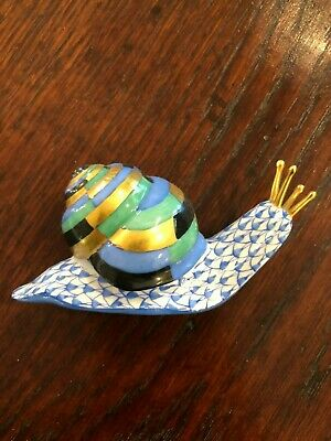 GORGEOUS Herend Blue Fishnet SNAIL SHELL Figurine MINT! Spring Garden