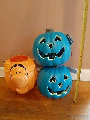 Lot Of 3 Vintage Tigger Oran, Blow Mold Blue Halloween Pumpkin Jack-O-Lantern