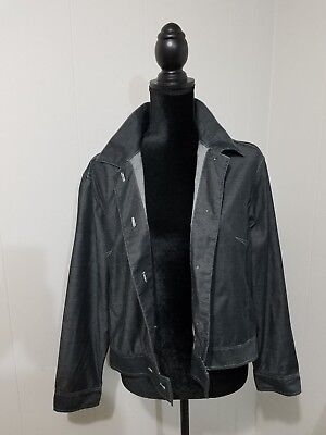 I.V.Y women's basic jacket charcoal sz M long sleeve cropped lightweigh button~D Charcoal Cropped Sleeve Jacket