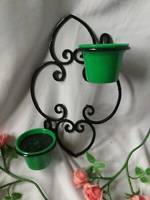 1950s Vintage kitsch plastic wall planter ..mint unused condition green pots