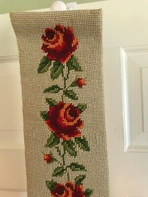 Tapestry Handbag with Vintage Needlepoint Red Roses Flowers