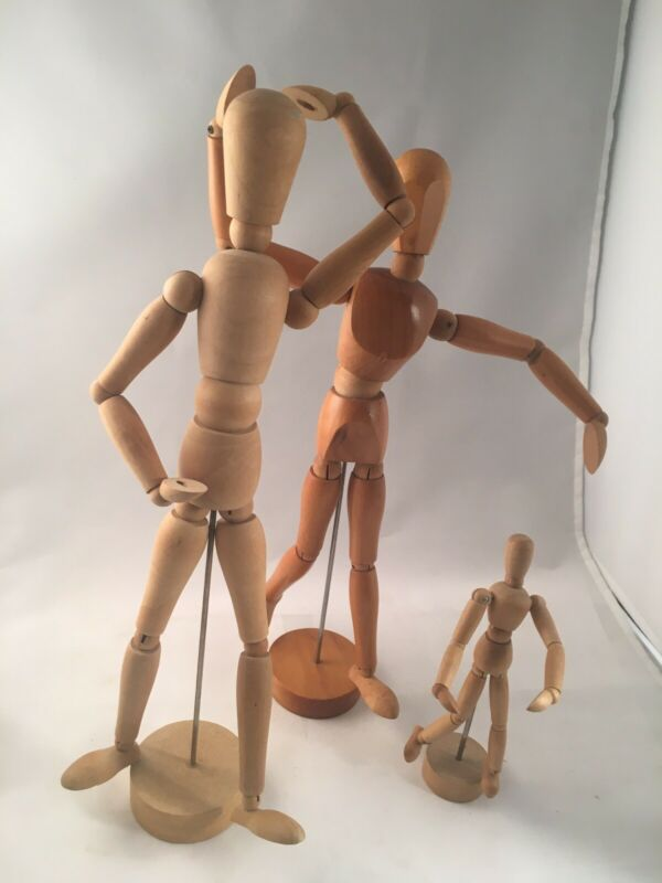 Lot of 3 Wood Full Body Models for Artist and Anatomy Figures