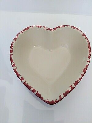 Workshops of Gerald Henn Medium Heart Bowl Red Spongeware Roseville