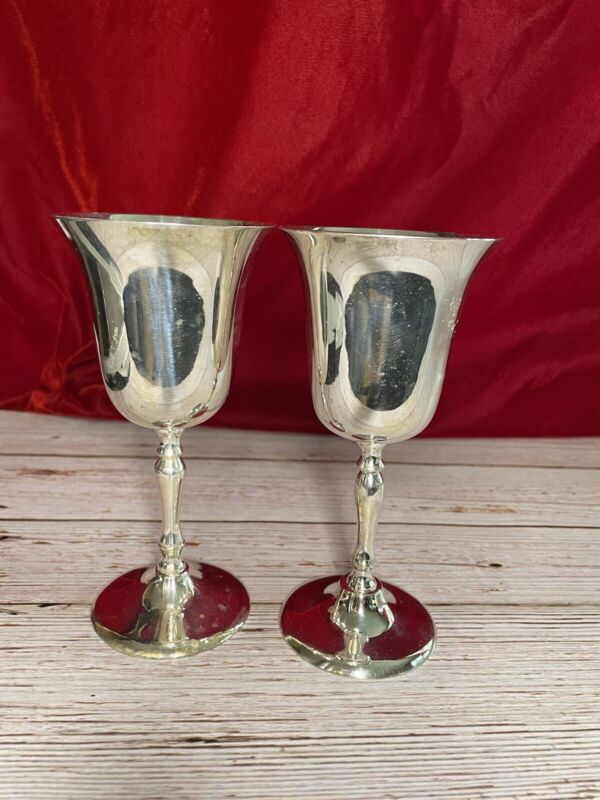 Leonard Silver Plate Set Of Two (2) Vintage Wine Large Goblets Style 820 w/ Box