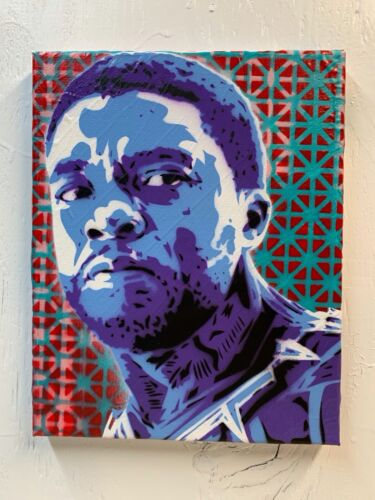 """Chadwick Boseman 8""""x10""""x1"""" Painting on Canvas - Black Panther Wakanda Art Blue"""