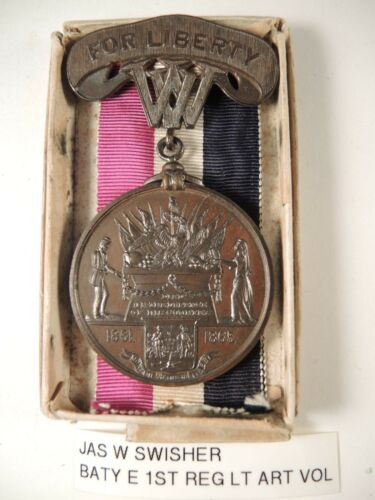 West Virginia For Liberty civil war medal to Jas W. Swisher & box plus info on h