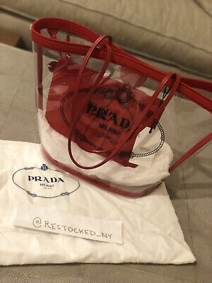 NWT Prada Transparent Red PVC Tote Bag with Leather Trim MSRP $1100  - Prada Red Bag