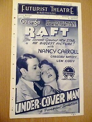 Rare Futurist Picture Programme 1933- Birmingham 'Under Cover Man'