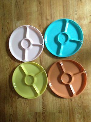 Vintage  Colonial Plastics Divided Plates Picnic Set  - 4 Trays  - Plastic Divider Plates