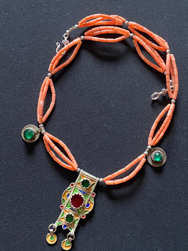 Moroccan Vintage Hirz & coral with Venetian glass Amazigh Berber Necklace.