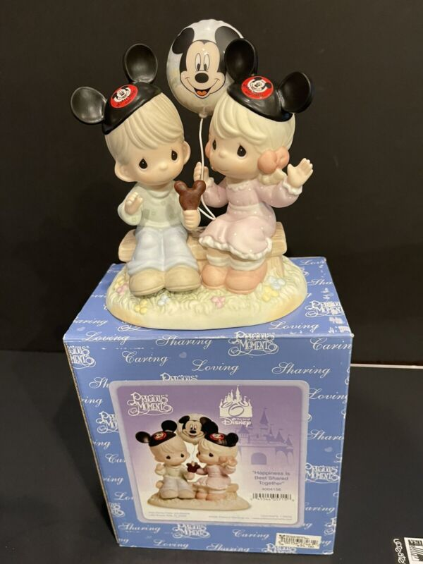 """Rare Retired Disney NIB Precious Moments - """"Happiness Is Best Shared Together"""""""