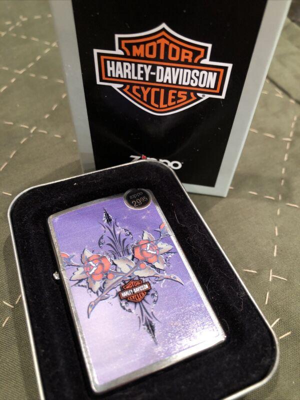 Zippo Lighter Harley Davidson Purple Rose Brushed Chrome