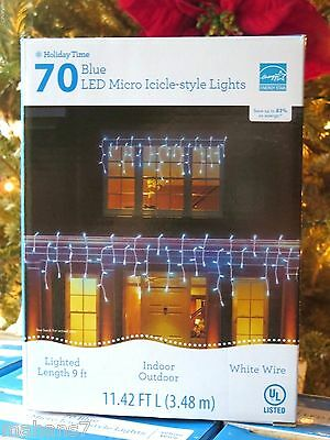 70 LED Micro Icicle Style Lights  Blue White Wire Micro Christmas Lights