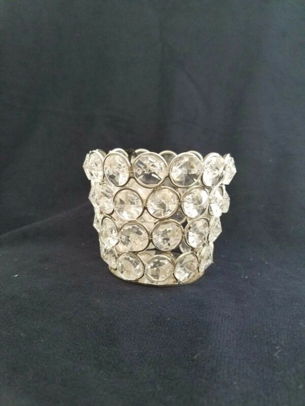 Crystal Bead - Silver Shimmer - Fluted - Candle Cup - 2.62in