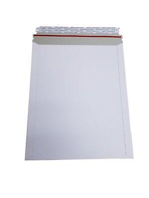 25 - 9x11.5 9x11 12 Stay Flat Rigid Mailer Cardboard White Envelope Self Seal