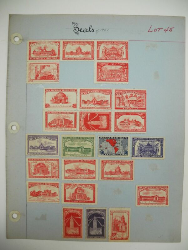 Set of 24 Hinge Mounted 1901 Pan-American Exposition Buffalo, NY Stamps