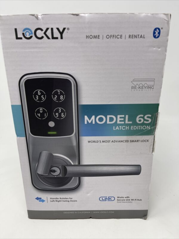 Lockly Model 6S Latch Edition Smart Lock PGD6S Satin Nickel Finish BRAND NEW
