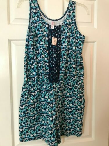 NWT Girls Justice Blue & White w/Flowers & Lace One Piece Romper