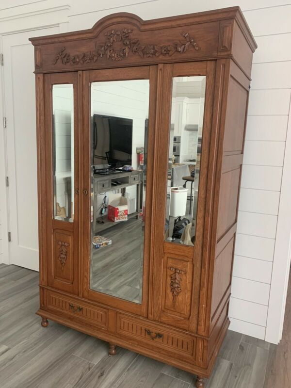 Antique French/Belgian Armoire with Beveled Mirror Doors