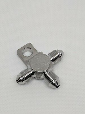 -3an 304 Stainless Steel Tee Fitting W Mounting Tab An3 For Brake Nitrous Line
