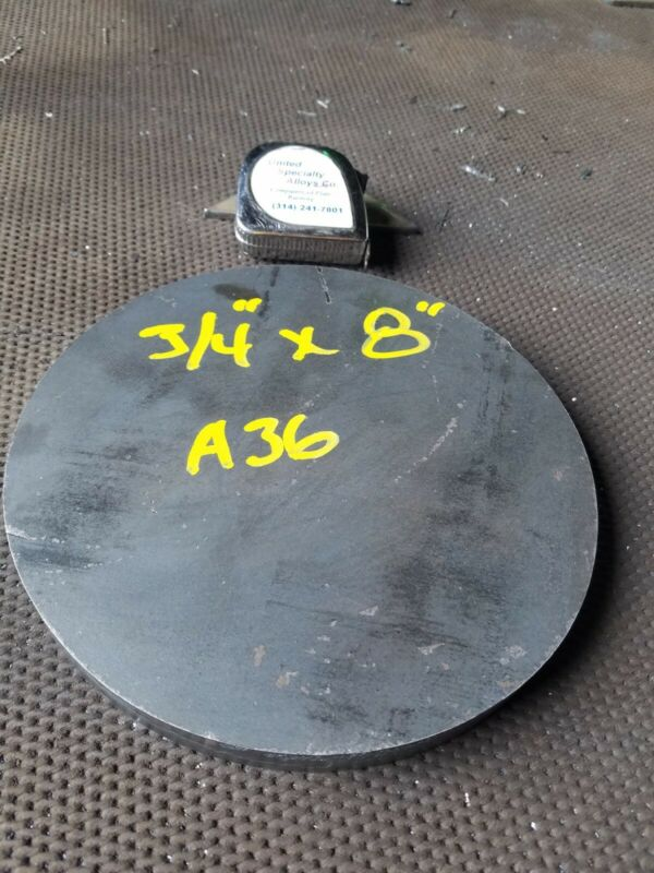 """Steel Plate Round Disc,  8"""" diameter x 3/4"""" thick, A36,   Lathe Stock"""
