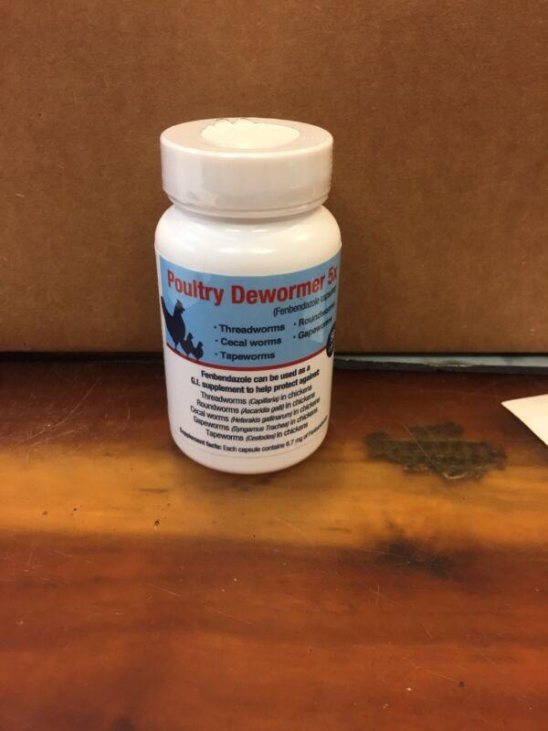 Poultry Dewormer 5X - 50 Capsules Bottle, Fenbendazole