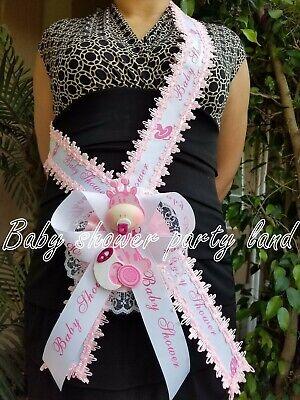 Baby Shower Giraffe (Baby Shower Mom To Be It's a Girl Giraffe Sash Pink Safari Ribbon Corsage)