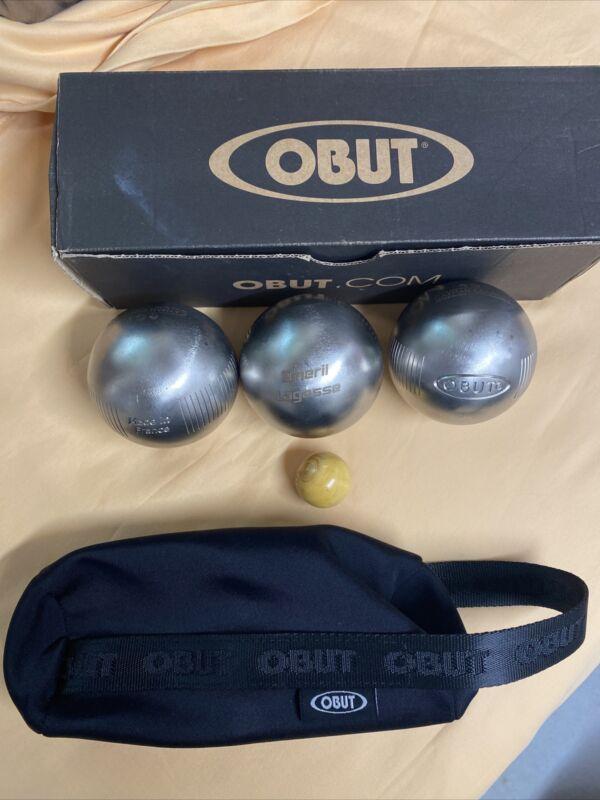 Emeril Lagasse Petanque Obut Boules Set Of 3 Balls W Target Ball, Box And Bag