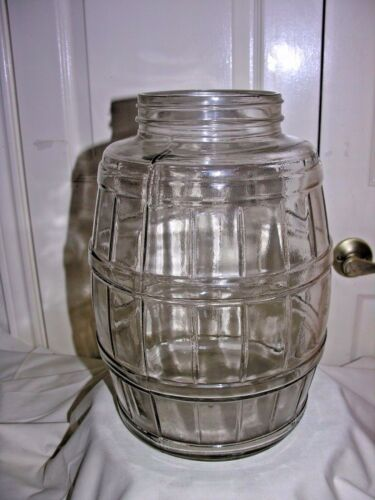 EUC Pickle Barrel Jar Antique Glass Primitive Country Store 2.5 Gallon