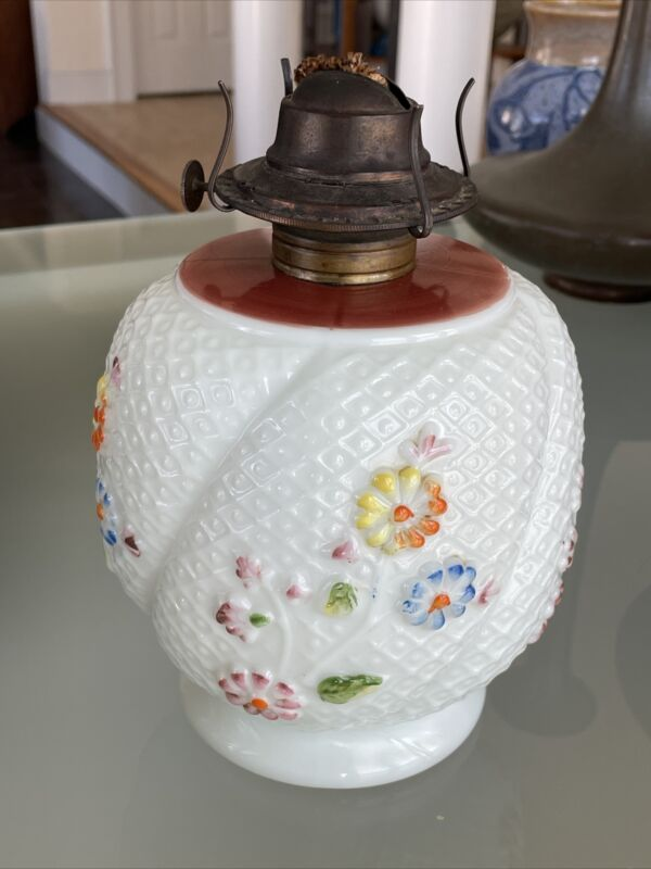 LARGE Oil Lamp Base COSMOS PATTERN by CONSOLIDATED GLASS CO.