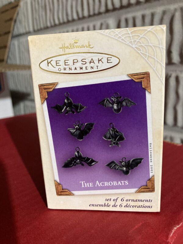 2003 Hallmark Keepsake Ornament THE ACROBATS Set of 6 Halloween Pewter Bats NIB