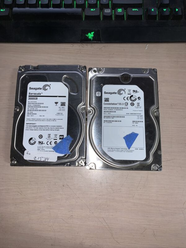 Lot of 2 3TB Hard Drive Used Wiped Tested