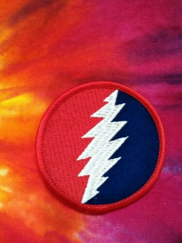 Grateful Dead Red White & Blue Lightning Bolt 3 Inch Iron On Patch