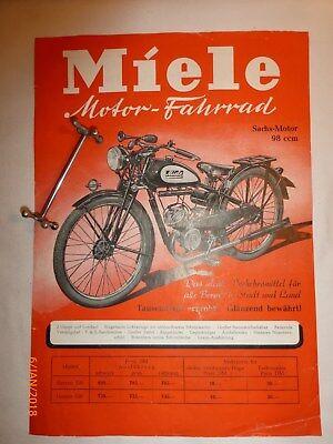 Miele Motor- Fahrrad  98 ccm -  Reklame Prospekt Werbebroschüre