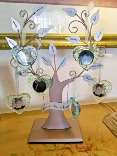 Hallmark Metal Family Tree Stand Glass Hearts Hanging Photo Picture Holders EUC!