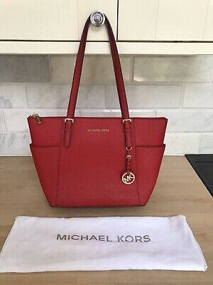 MICHAEL KORS JET SET MANDARIN RED SAFFIANO LEATHER SHOULDER TOTE BAG ~excellent!