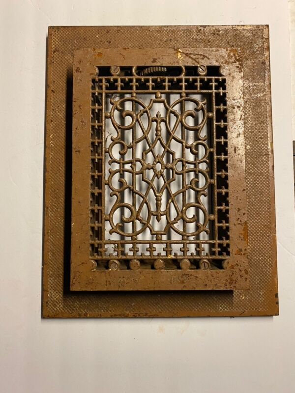 """Vintage Tuttle & Bailey Cast Iron 9"""" X 12"""" Heating Grate Register with TRIM RING"""