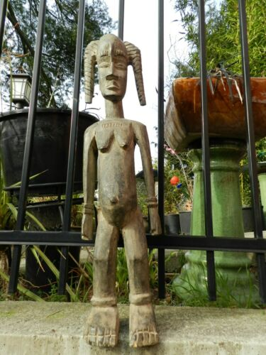ANTIQUE FEMALE FIGURE OF THE idoma nigeria africa,26 INCH TALL