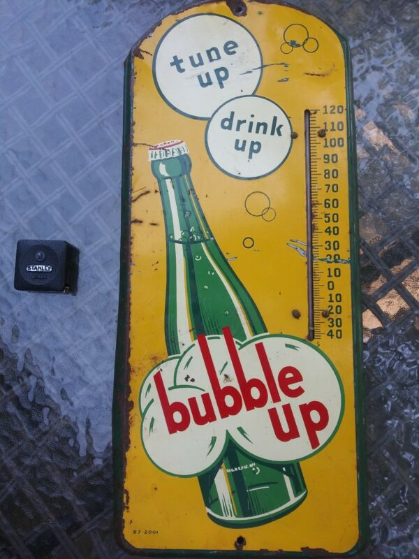 BUBBLE UP SODA METAL ADVERTISING THERMOMETER 1930