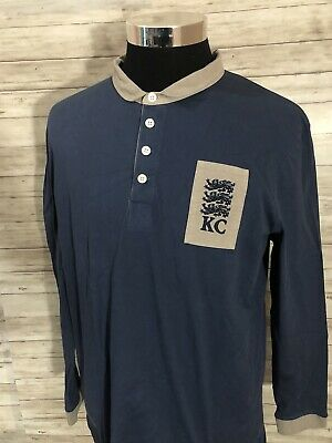NEW! Kent & Curwen England Men Long Sleeve Polo Rugby Shirt Small Blue N70