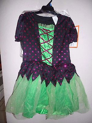girls NEW NWT POLKA DOT WITCH HALLOWEEN COSTUME LARGE DRESS H AT SPARKLES GREEN  - Halloween Costumes At Target