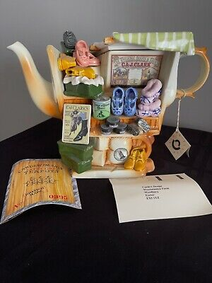 RARE VINTAGE 1995 PAUL CARDEW CLARKS SHOES MARKETPLACE STALL LARGE TEAPOT SIGNED