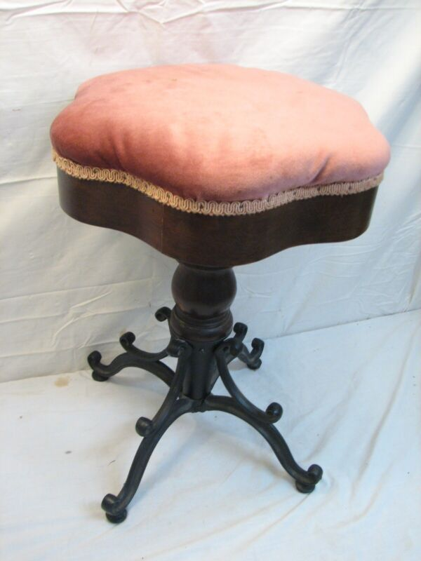 Ornate Cast Iron Leg Antique Piano Stool Organ Riser Victorian