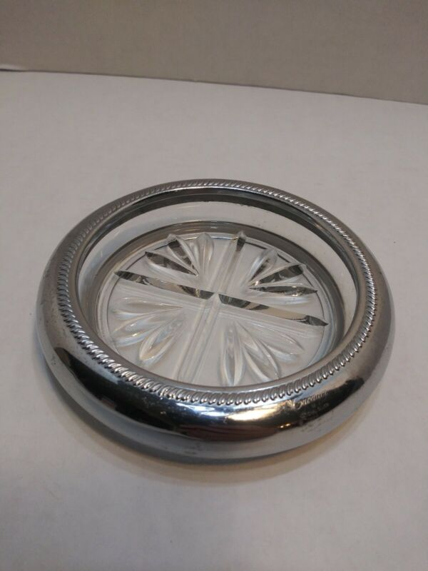 "Vintage Round 4"" Glass Crystal Cavalier Silver Rim Coasters/Ashtrays"