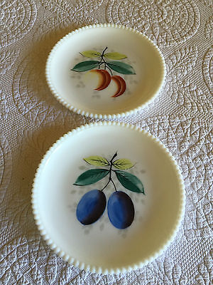 Westmoreland Milk Glass Beaded Edge Painted Plates