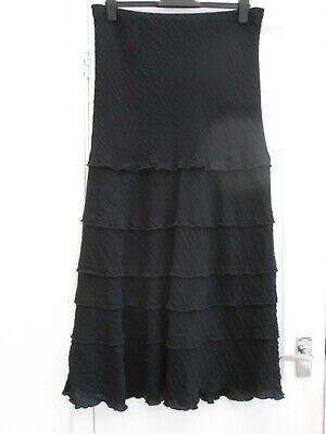 "Steampunk/Goth/Boho Maxi Skirt Size 16 Stretch Waist 34"" -39"" Fully Lined BLACK"