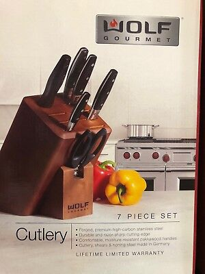 New In Box Wolf Gourmet Series WGCU100S 7 Piece German Crafted Cutlery Set